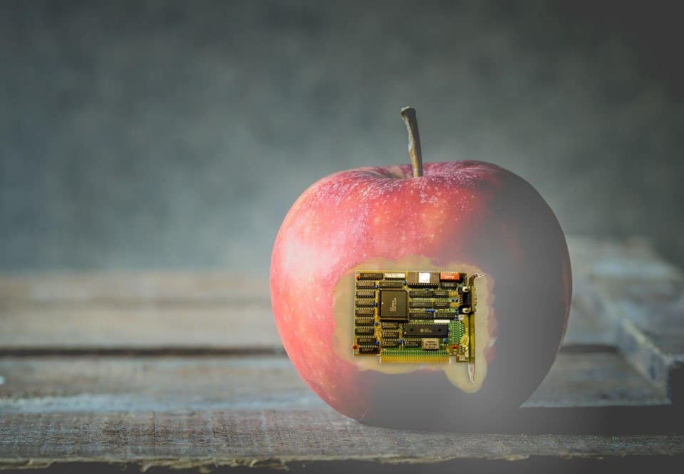 a picture of an apple with a graphic card photoshopped into it