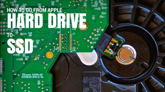 """A close of photo of a computer hard drive the words """"How to go from Apple Computer Hard Drive to SSD"""" printed on top left corner of the image"""